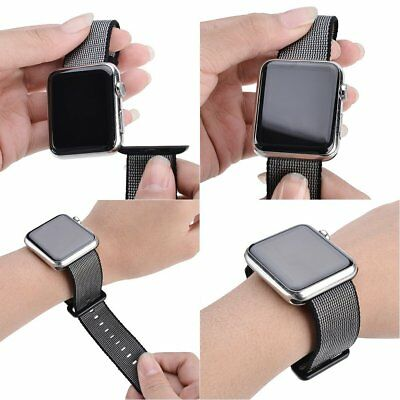42mm Apple Watch Replacement Band Black Nylon Woven iWatch Series 3 Sport Strap