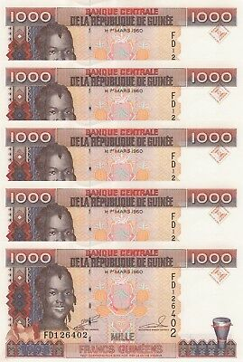 LOT, Guinea 1000 Francs (1998) p37a x 5 PCS UNC
