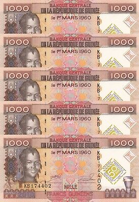 LOT, Guinea 1000 Francs (2010) p43 x 5 PCS UNC