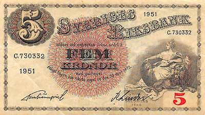 Sweden 5 Kronor, 1951 P.33 Circulated
