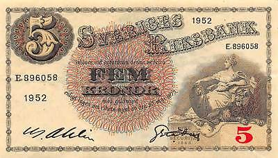 Sweden 5 Kronor, 1952 P.33 Circulated