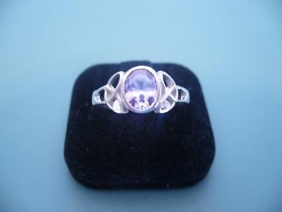 Stunning Created Amethyst Celtic Ring - .925 Sterling Silver - 3G