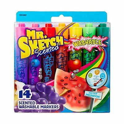 Mr. Sketch 1924061 Washable Scented Markers, Chisel Tip, Assorted Colors, 14-Cou