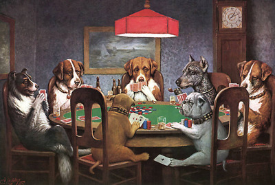 A Friend in Need (Dogs Playing Poker) Metal Sign