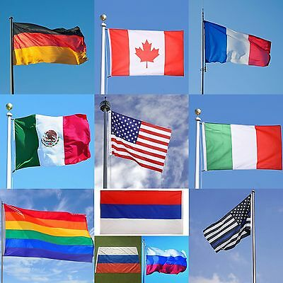 Pro 3'x5' FT World Country National Polyester USA Canada UK Germany Mexico Flags