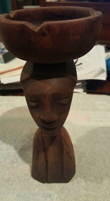Unique Hand Carved Woman Ashtray Sculpture  Made In Haiti