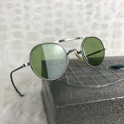 Vintage Safety Glasses Goggles Bausch And Lomb U.S.A. Steampunk Motorcycle Green