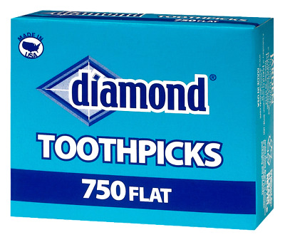 Diamond Brand Flat Toothpicks USA 750 Count - 3 Boxes