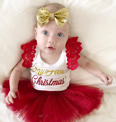 48d0f88f67e6 Newborn KIds Baby Girls Cartoon Deer Christmas Dress Princess Party Clothes  Set
