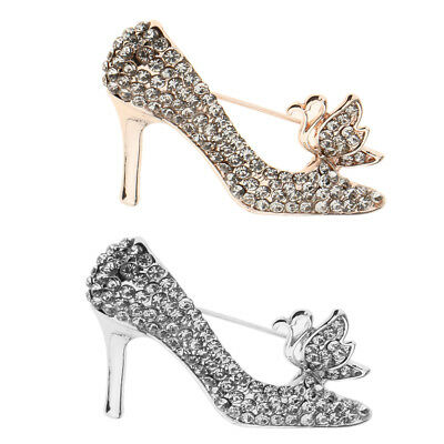 Blesiya Fashion Party Broaches Crystal High Heels Shoes Brooch Pins For Women