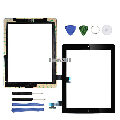 Touch Screen Glass Digitizer Black Replacement Home For ipad 2 A1395 A1396 A1397