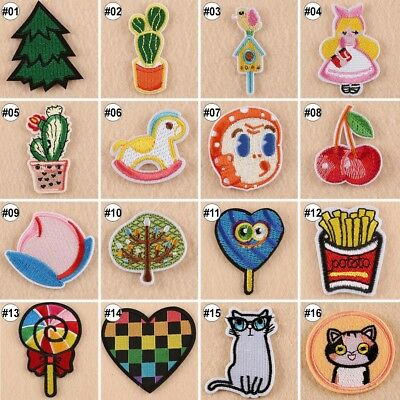 1/10PCS Cartoon Patches For Clothes Iron On Embroidered Garment Applique Trim