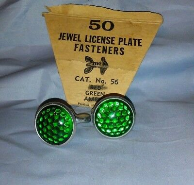 Vintage Automobile License Plate Fasteners/Bike Reflectors, Pair - GREEN - NOS