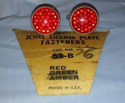 Vintage Style Automobile License Plate Fasteners/Bike Reflectors- Pair-RED NOS