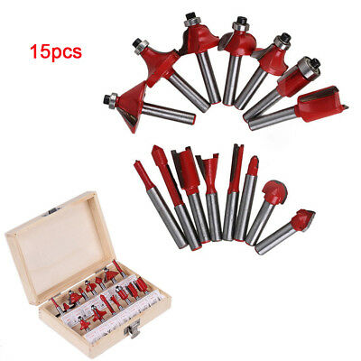 "15Pcs 1/4""/6.35mm Shank Woodworking Tungsten Carbide Tipped Router Bits  Case"