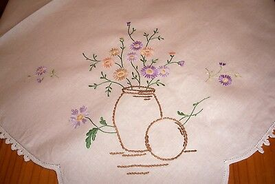 Vintage Linen Hand Embroidered Tablecloth Vase & Daisies Flowers