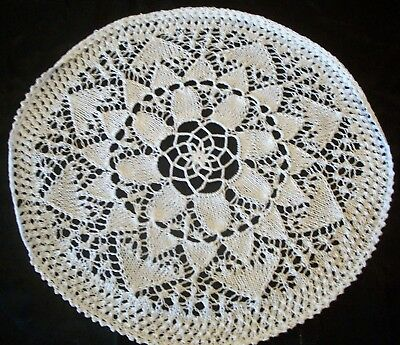 Vintage White Cotton Hand Knitted Doily
