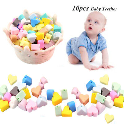 10Pcs Silicone Teething Beads Baby Teether Baby Chewable DIY Necklace BPA Free