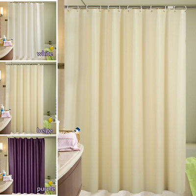 Fabric Shower Curtain Plain Extra Wide/Long Standard Curtains With 12 Hooks Ring