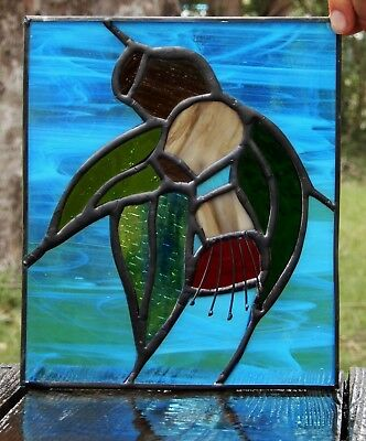 GUM NUTS, BLOSSOM & LEAVES stained glass WINDOW PANEL FOR RENOVATIONS, KITCHEN