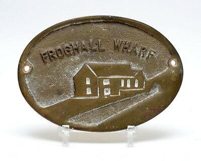 Vintage Froghall Wharf Canal Plaque Brass Waterways Collectible 4.25""