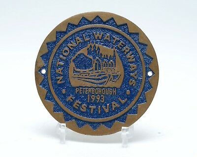 Brass Canal Plaque National Waterways Festival Peterborough 1993 3.25""