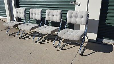 4 Vintage MCM Retro Chrome Chairs Cantilever CHROMCRAFT Kitchen Dining Hollywood