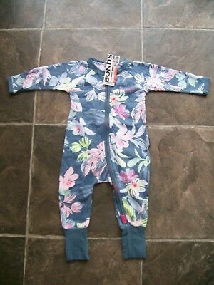 BNWT Baby Girl's Bonds Blue Floral Zip Wondersuit/Coverall Size 0000, 00 & 0