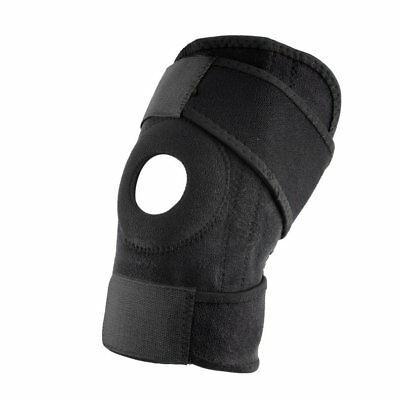 Adjustable Strap Elastic Patella Sports Support Brace Black Neoprene Knee