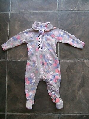 BNWT Baby Girl's Grey Floral Newbies Wondersuit/Coverall/Sleeper Size 000