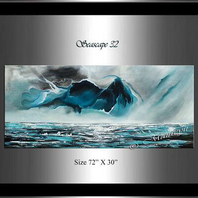"""Large Abstract Painting 72"""" - Teal Turquoise Modern Art on Canvas Original Art"""