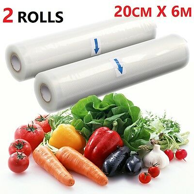 2 Rolls -20Cmx 12M- Textured Vacuum Vac Sealer Sous Vide Food Saver Storage Bags