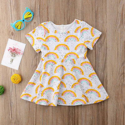 Newborn Kids Baby Girl Rainbow Little Dots Dress Party Skirts Outfit Summer 0-5Y