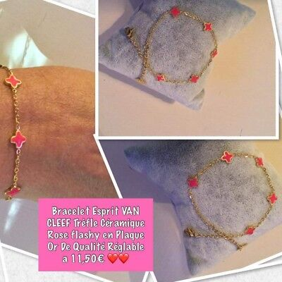 bracelet Trèfles Plaque Or Réglable  de qualité trèfle rose flashy* cleef * new