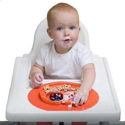 Children's Baby Plate Dinner Plate Nourish Silicone Mat for Baby Meals Orange