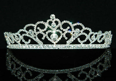 d1eec8da0c2ee4 Heart Austrian Crystal Queen Pageant Homecoming Wedding Bridal Tiara CT1301