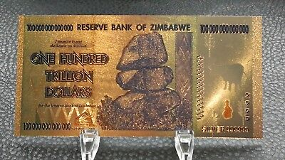 Collectable Zimbabwe 100 Trillion Dollar Bank Notes 999 Silver Colored Banknote