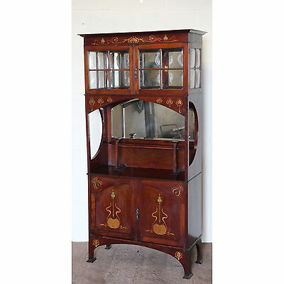A Quality Art Nouveau Inlaid Mahogany Mirrored Display Cabinet Manner Libertys