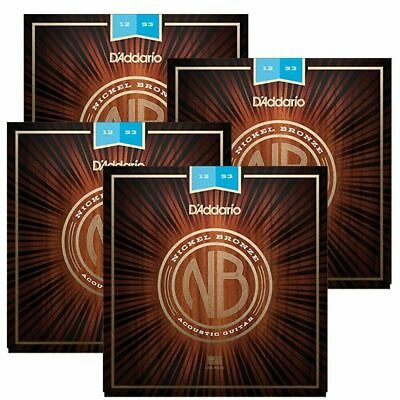 4 Sets D'Addario Nickel Bronze Acoustic Guitar Strings,Light 12 - 53  NB1253
