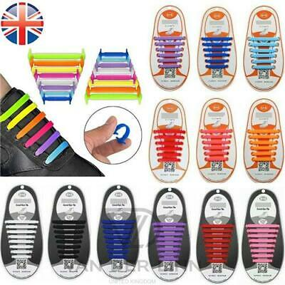 *UK Seller* 16 X 100% Silicone Elastic Adults Kids Shoe laces No Tie Shoelaces