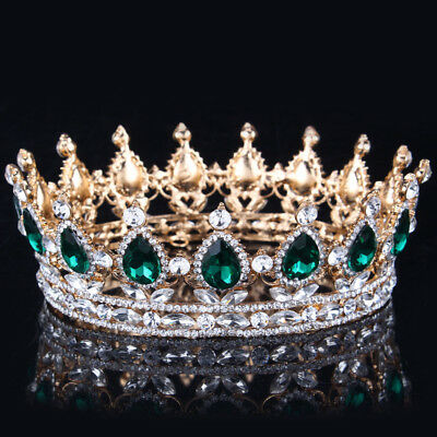 2017 Green Crystal Gold Color Chic Royal Regal Sparkly Rhinestones Tiaras And Cr