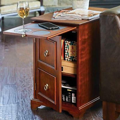 Walnut Or Black Magazine Storage End Table Pull Out Tray Recliner Side Table