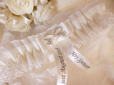 Personalised Ivory Wedding/hen Garter Choice Of Garter Only Or Garter With  Box