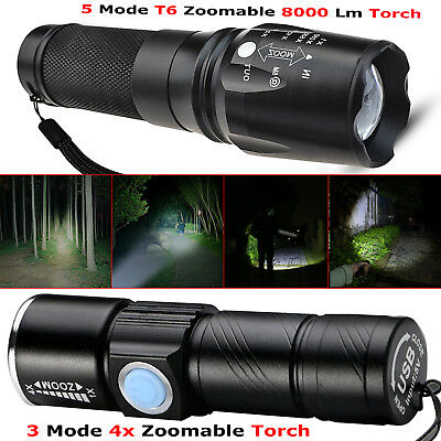 USB Rechargeable 8000lm Ultra Bright LED Flashlight Torch Wth Beam Focusing Zoom
