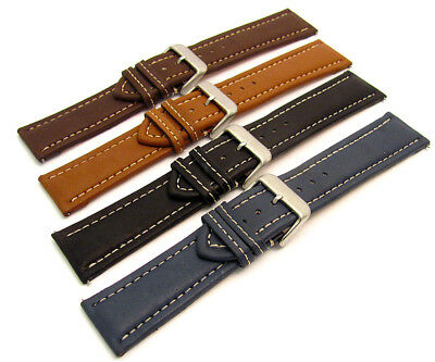 Comfortable Padded Leather Watch Strap Contrast Stitched 20mm-26mm 4 colour C011