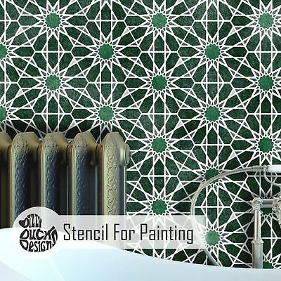 ZAIDA Moroccan Hexagon Tile - Furniture Wall Floor Stencil for Painting