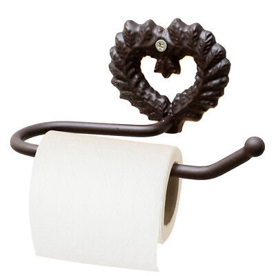Vintage Shabby Chic Brown Heart Bathroom Wall Mounted Toilet Roll Paper Holder