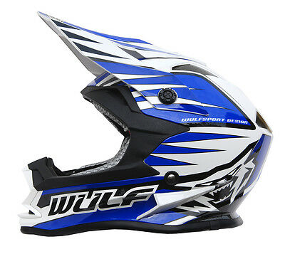 Kids Childrens Quad Wulf Wulfsport MX Motorcross  Advance Helmet Blue T