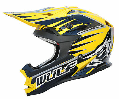 Kids Childrens Quad Wulf Wulfsport MX Motorcross NEW Advance Helmet Yellow T