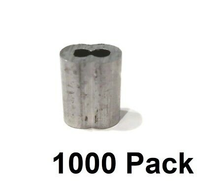 "(1000) 1/8"" Wire Rope ALUMINUM CABLE CLAMP Double Barrel Snare Swage Connectors"